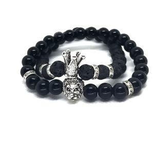 CROWN&LION HEAD Black Lava Beads Unisex Gemstone